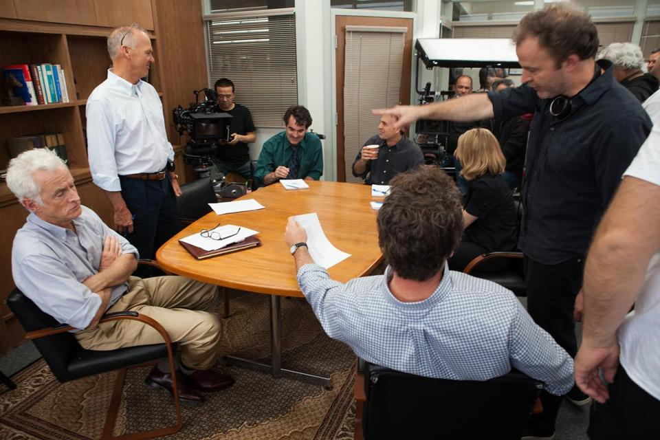 "The cast on the set of ""Spotlight."""
